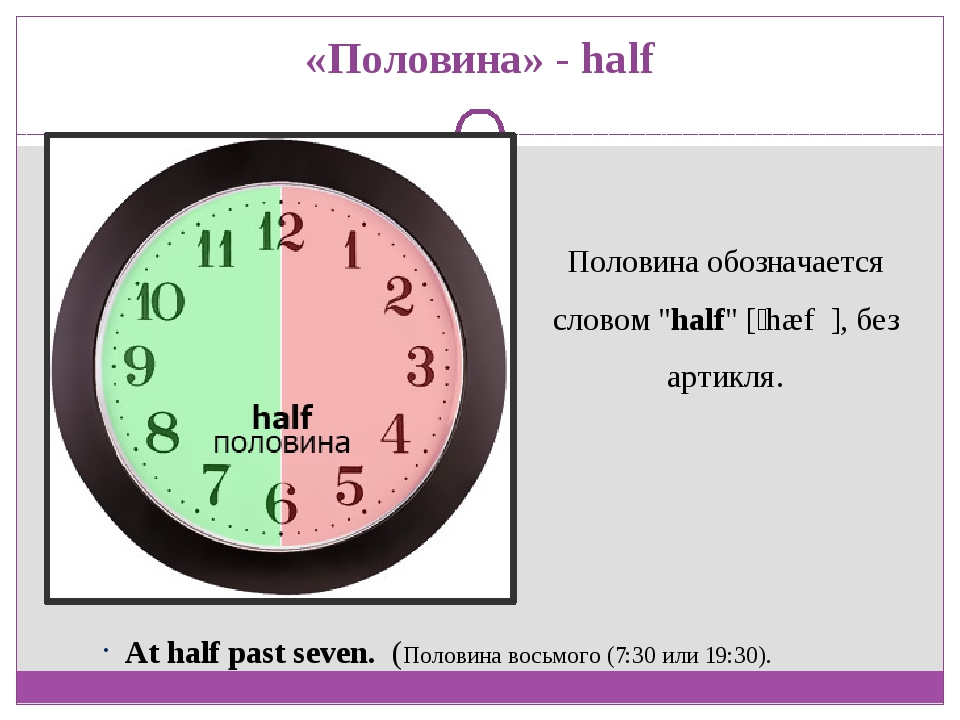 "«Половина» - half Половина обозначается словом ""half"" [ˈhæf ], без артикля...."