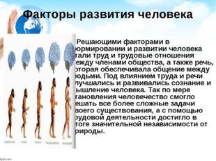 Факторы развития человека Решающими факторами в формировании и развитии челов