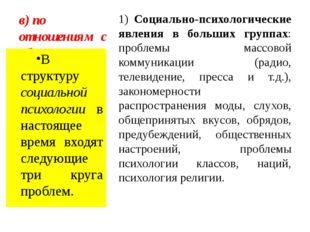в) по отношениям с обществом 1) Социально-психологические явления в больших г