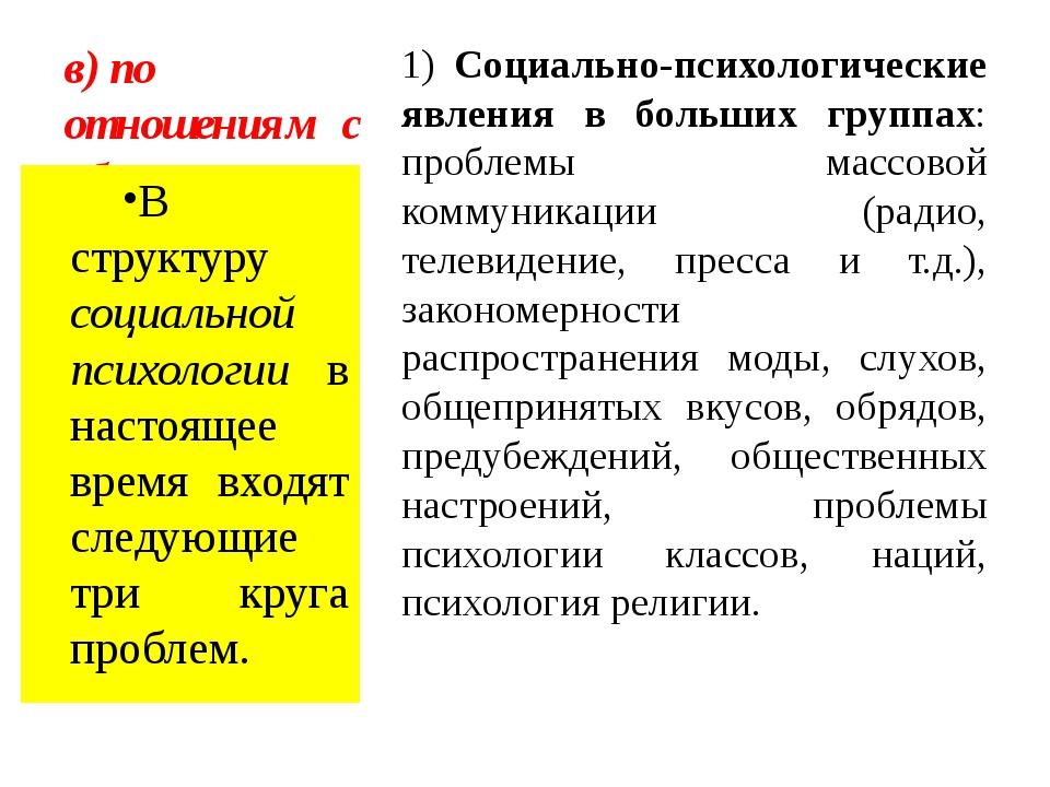 в) по отношениям с обществом 1) Социально-психологические явления в больших г...