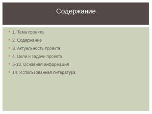 1. Тема проекта 2. Содержание 3. Актуальность проекта 4. Цели и задачи проект