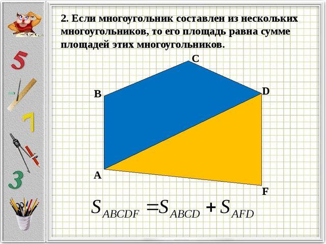 А B C D F 2. Если многоугольник составлен из нескольких многоугольников, то...
