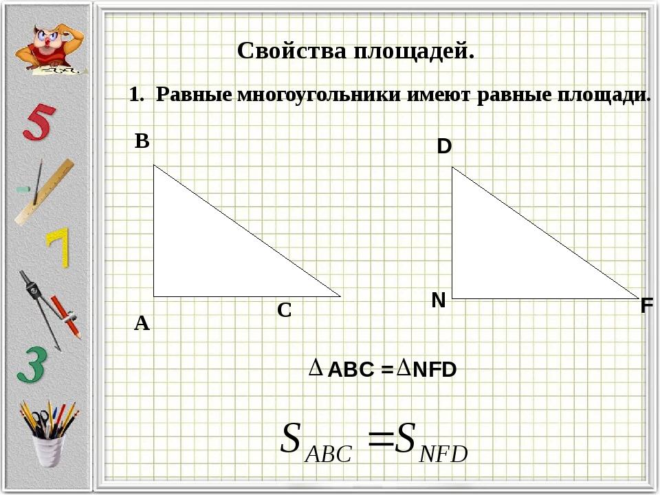 С А В Свойства площадей. 1. Равные многоугольники имеют равные площади. N F D...
