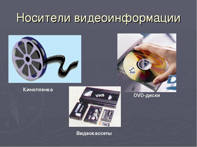 Носители видеоинформации Кинопленка Видеокассеты DVD-диски