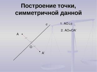 Построение точки, симметричной данной А с А' 1. АОс О 2. АО=ОА'