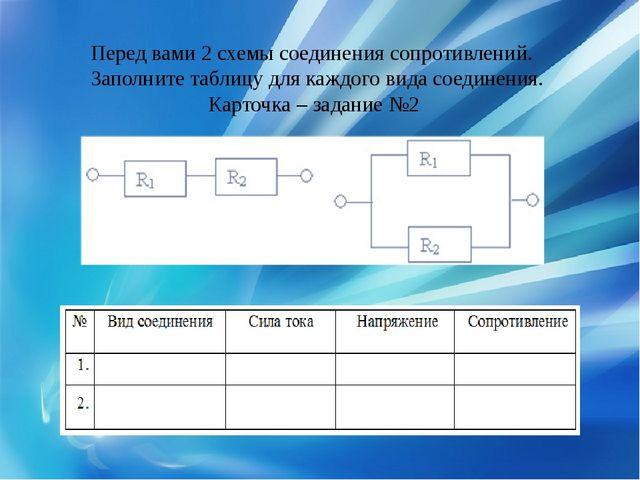 Перед вами 2 схемы соединения сопротивлений. Заполните таблицу для каждого в...