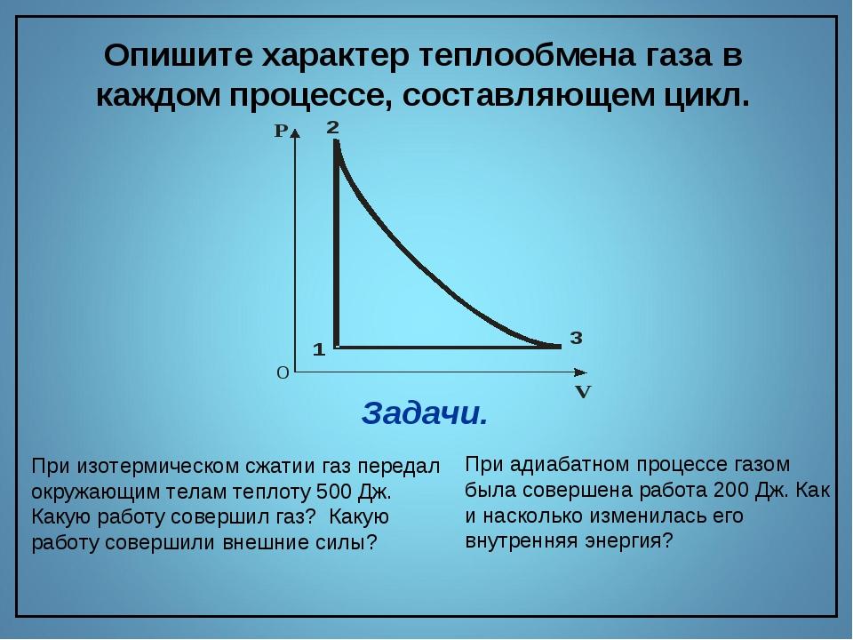 Опишите характер теплообмена газа в каждом процессе, составляющем цикл. При и...