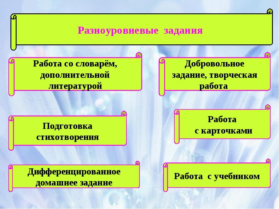Разноуровневые задания Работа со словарём, дополнительной литературой Работа...