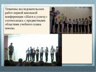 Тематика исследовательских работ первой школьной конференции «Шаги к успеху»