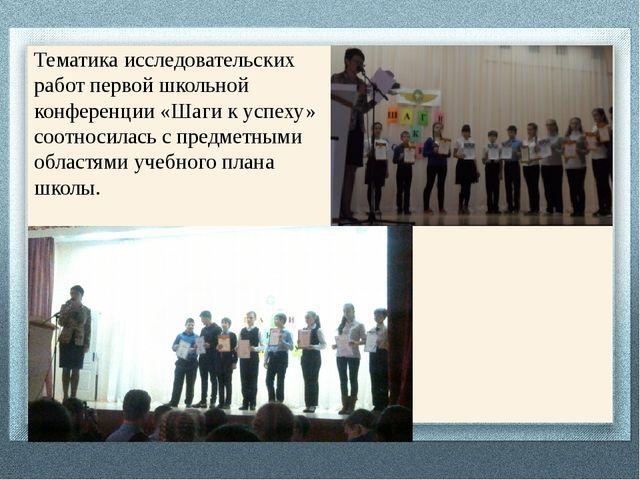Тематика исследовательских работ первой школьной конференции «Шаги к успеху»...