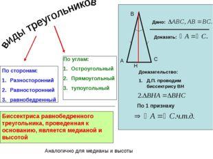 По сторонам: Разносторонний Равносторонний равнобедренный По углам: Остроугол
