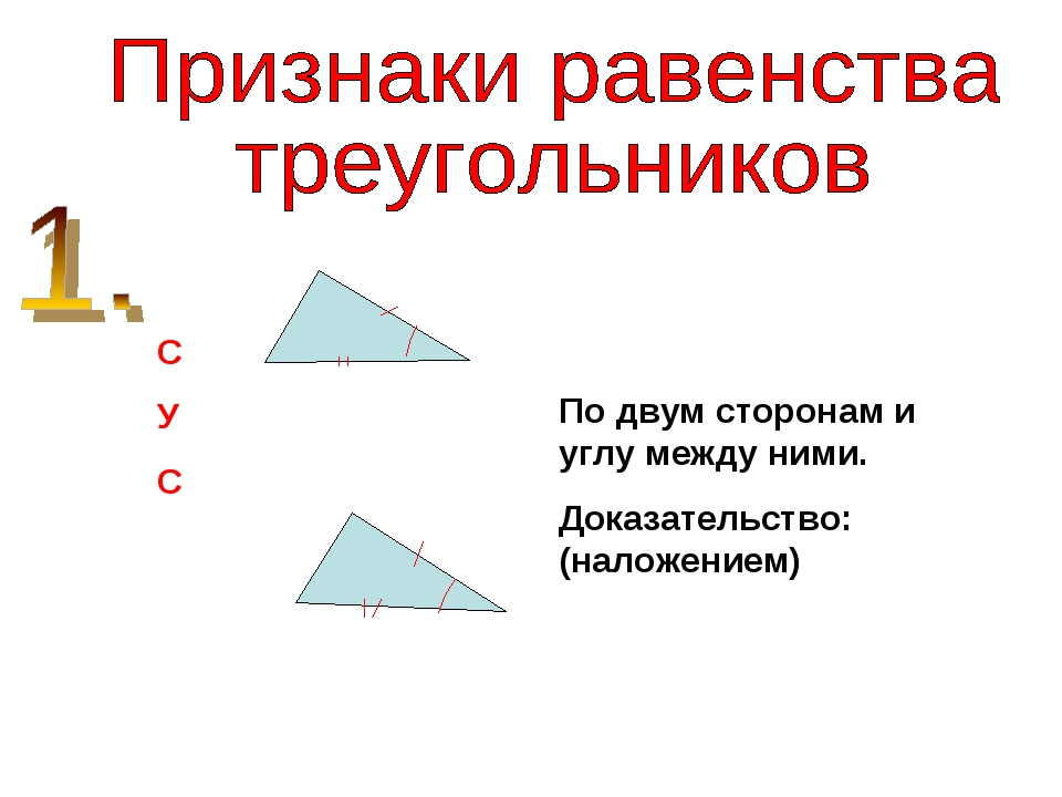 С У С По двум сторонам и углу между ними. Доказательство: (наложением)