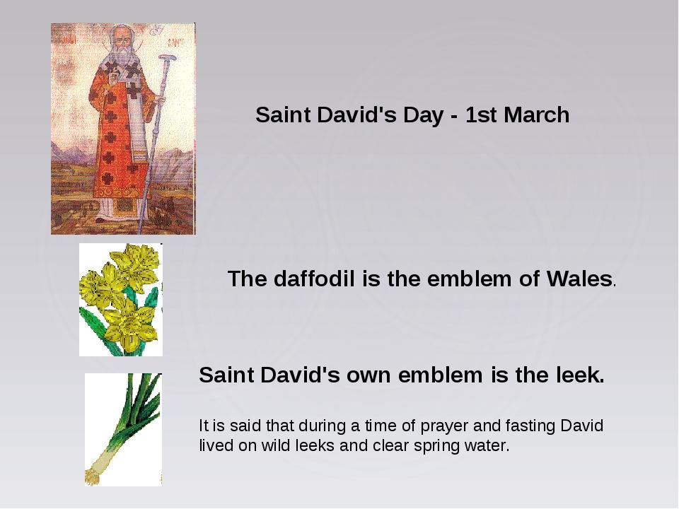 The daffodil is the emblem of Wales. Saint David's own emblem is the leek. It...