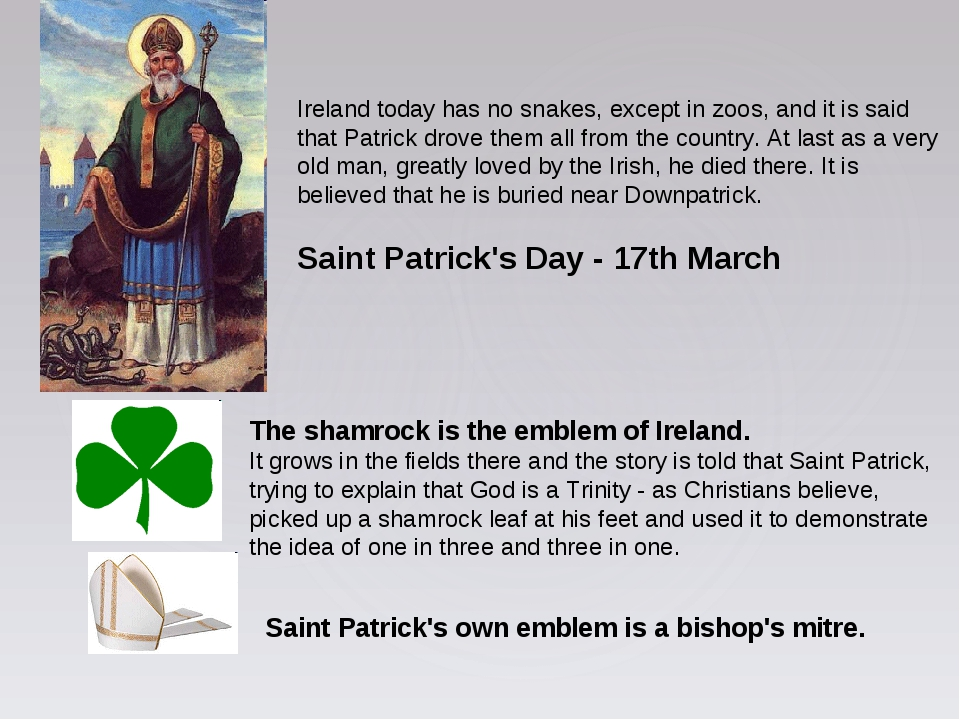 Ireland today has no snakes, except in zoos, and it is said that Patrick drov...