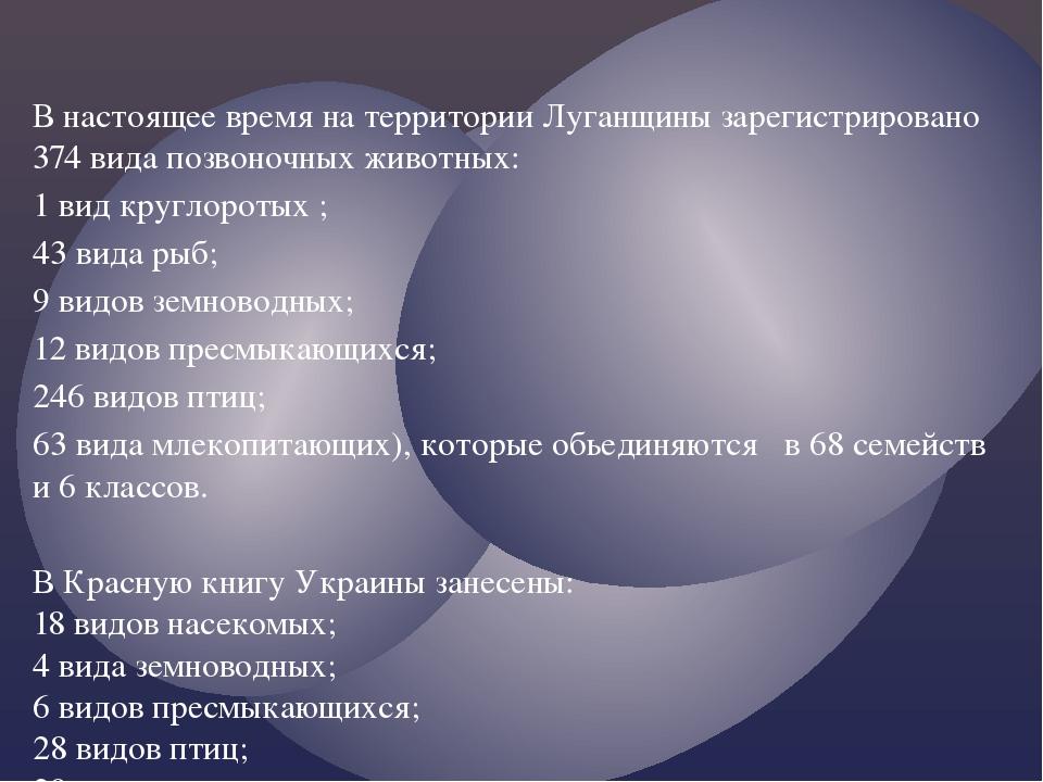 В настоящее время на территории Луганщины зарегистрировано 374 вида позвоночн...