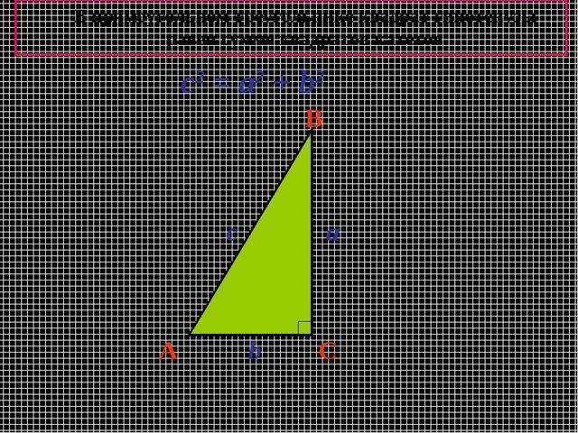 A B C a b c c2 = a2 + b2 В прямоугольном треугольнике квадрат гипотенузы раве...