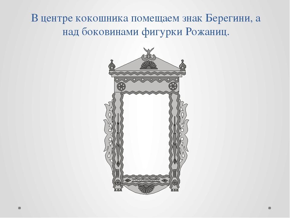 В центре кокошника помещаем знак Берегини, а над боковинами фигурки Рожаниц.