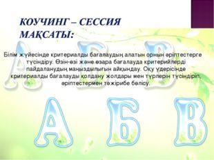 Білім жүйесінде критериалды бағалаудың алатын орнын әріптестерге түсіндіру.
