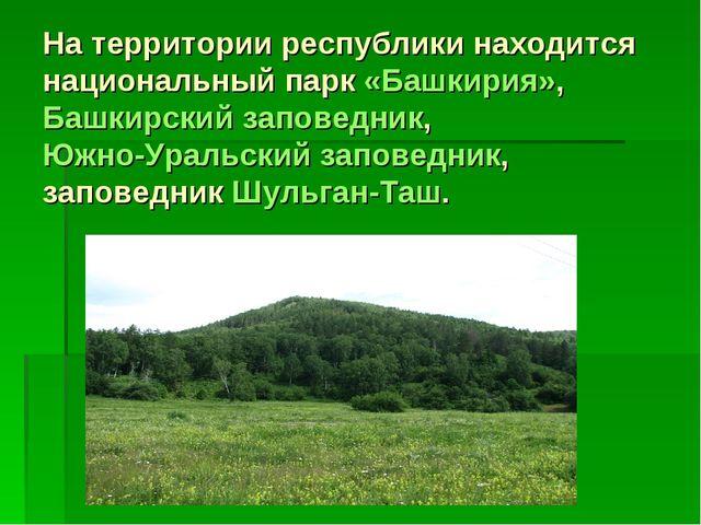 На территории республики находится национальный парк«Башкирия», Башкирский з...