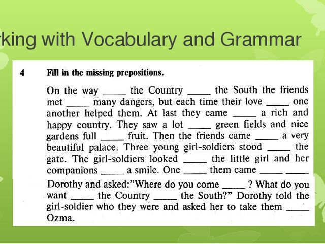 Working with Vocabulary and Grammar