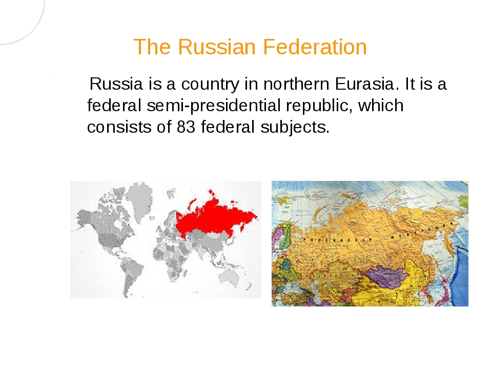 Russia is a country in northern Eurasia. It is a federal semi-presidential re...