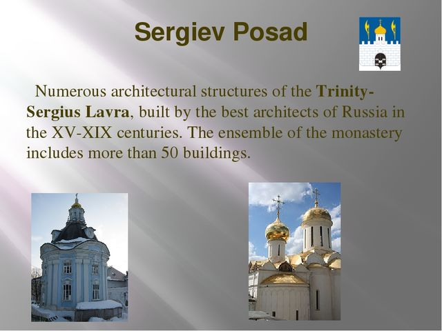 Sergiev Posad Numerous architectural structures of the Trinity-Sergius Lavra,...