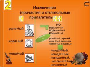 Исключения (причастия и отглагольные прилагательные) ранеНый коваНый жеваНый