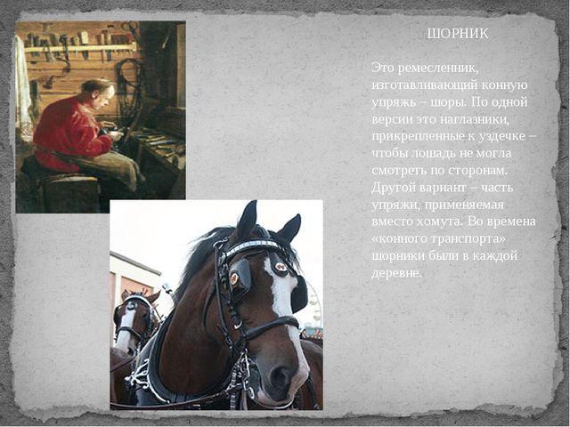 ШОРНИК Это ремесленник, изготавливающий конную упряжь – шоры. По одной версии...