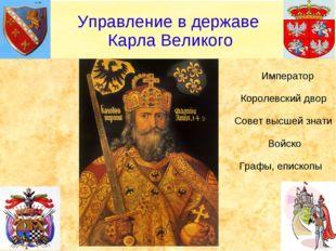 Император Королевский двор Совет высшей знати Войско Графы, епископы Управле