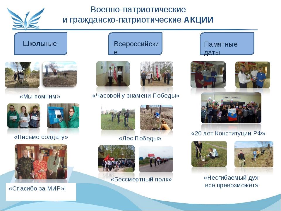 Военно-патриотические и гражданско-патриотические АКЦИИ Школьные Всероссийски...