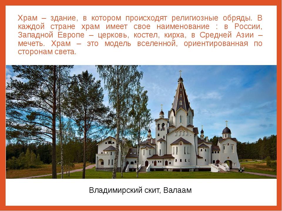 Храм – здание, в котором происходят религиозные обряды. В каждой стране храм...
