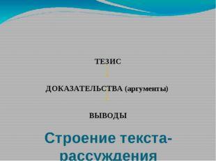 Строение текста-рассуждения ТЕЗИС ДОКАЗАТЕЛЬСТВА (аргументы) ВЫВОДЫ