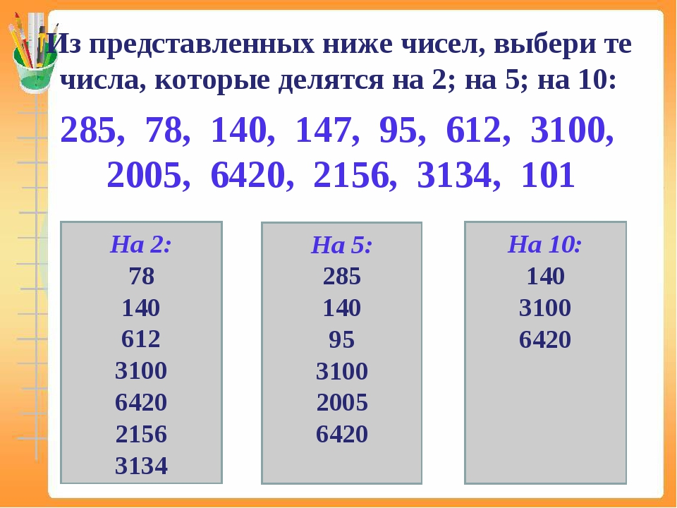 Из представленных ниже чисел, выбери те числа, которые делятся на 2; на 5; на...