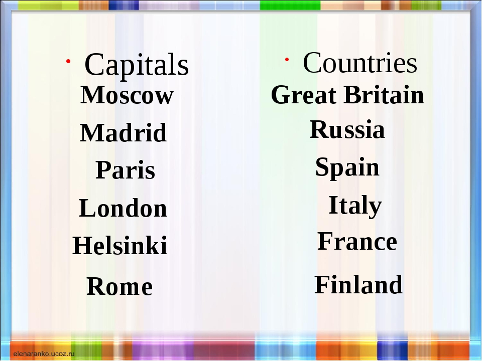 Capitals Moscow Countries Great Britain Madrid Paris London Helsinki Rome Rus...