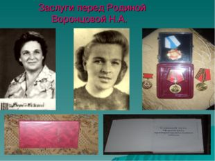 Заслуги перед Родиной Воронцовой Н.А.