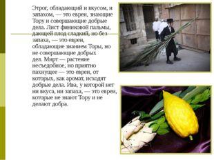 Этрог, обладающий и вкусом, и запахом,— это евреи, знающие Тору и совершающи