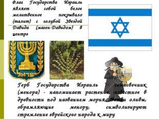 Флаг Государства Израиль являет собой белое молитвенное покрывало (талит) с г