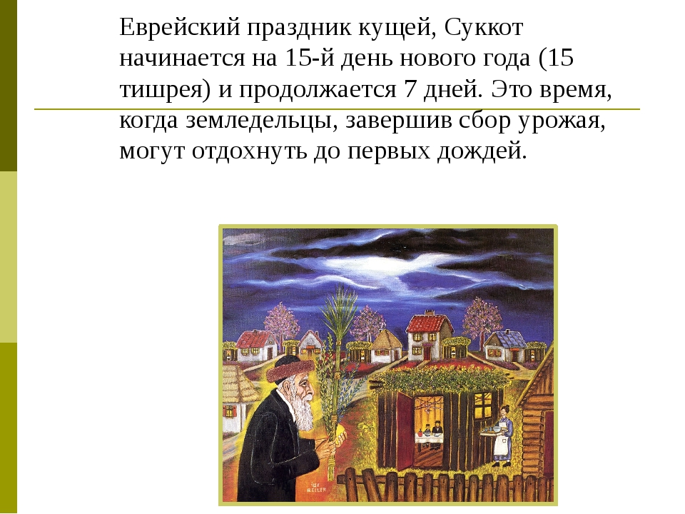 Еврейский праздник кущей, Суккот начинается на 15-й день нового года (15 тишр...