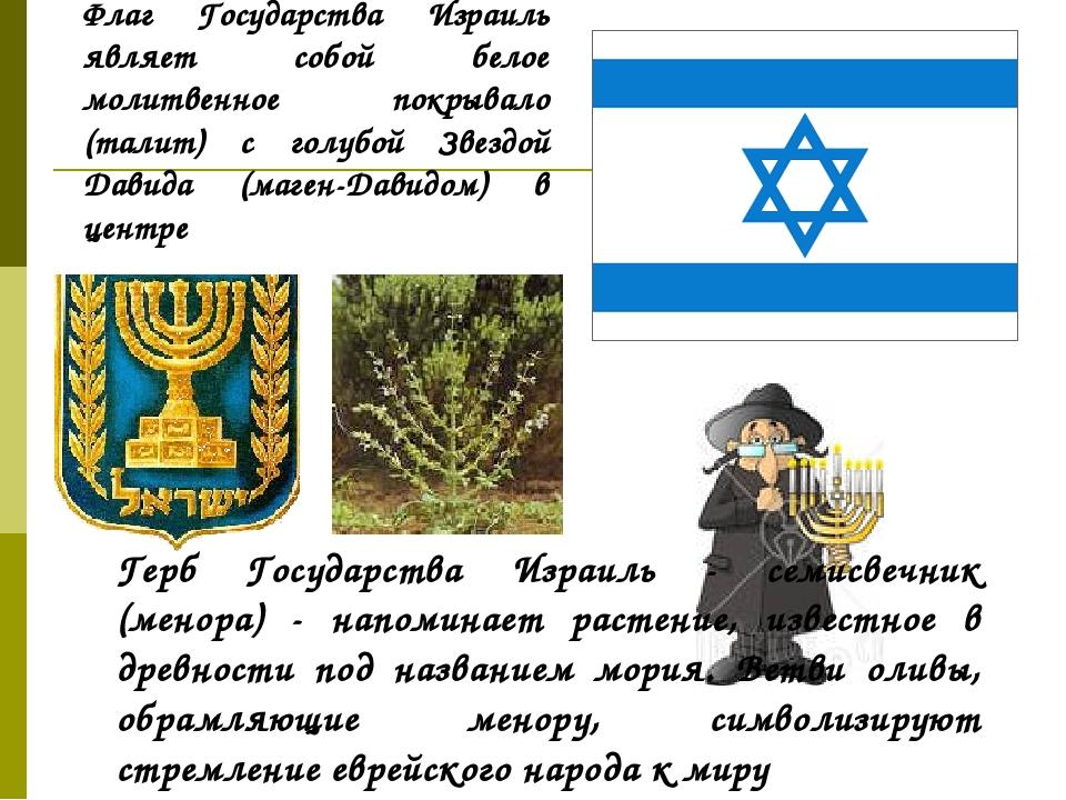 Флаг Государства Израиль являет собой белое молитвенное покрывало (талит) с г...