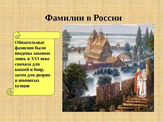 Фамилии в России Обязательные фамилии были введены законом лишь в XVI веке с...