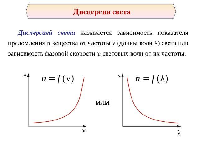 Дисперсией света называется зависимость показателя преломления n вещества от...