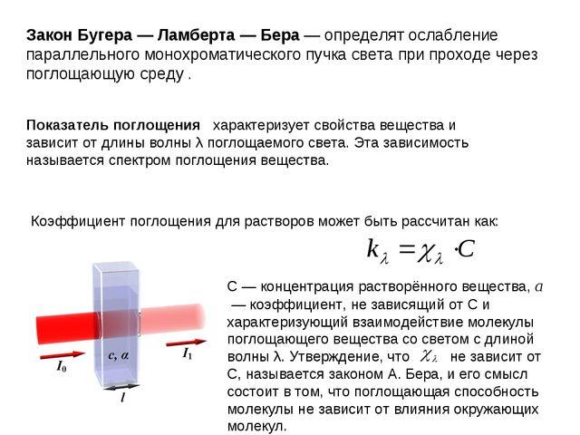 Закон Бугера — Ламберта — Бера— определят ослабление параллельного монохрома...