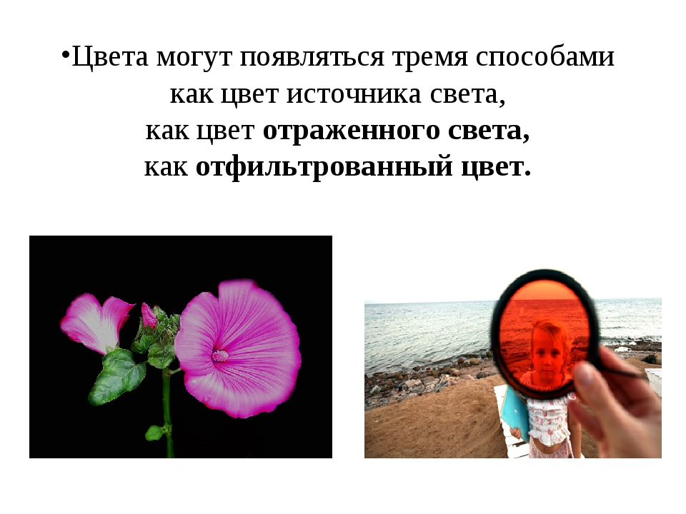 Цвета могут появляться тремя способами как цвет источника света, как цвет отр...