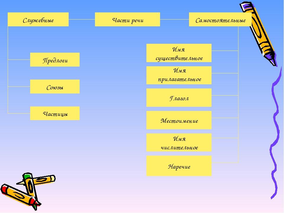 Части речи Самостоятельные Предлоги Союзы Частицы Имя существительное Местоим...