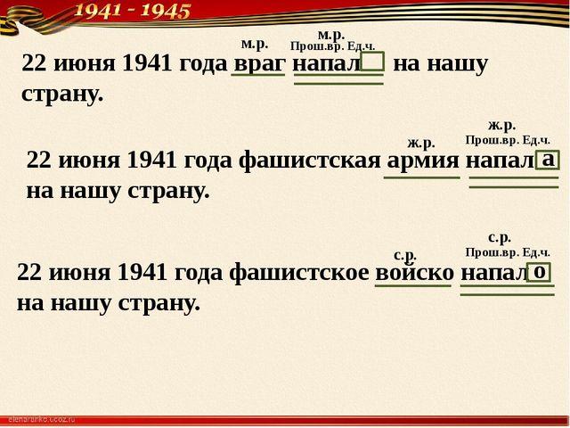 22 июня 1941 года враг напал на нашу страну. 22 июня 1941 года фашистская арм...