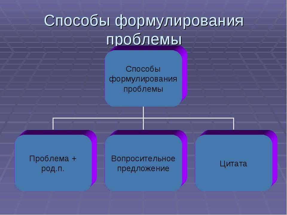 Способы формулирования проблемы