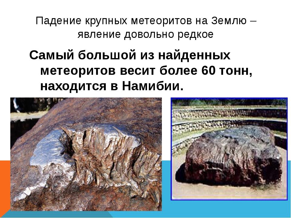Падение крупных метеоритов на Землю – явление довольно редкое Самый большой и...