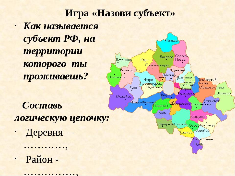 Игра «Назови субъект» Как называется субъект РФ, на территории которого ты п...