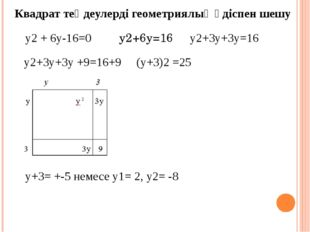 Квадрат теңдеулерді геометриялық әдіспен шешу у2 + 6у-16=0 у2+6у=16 у2+3у+3у=