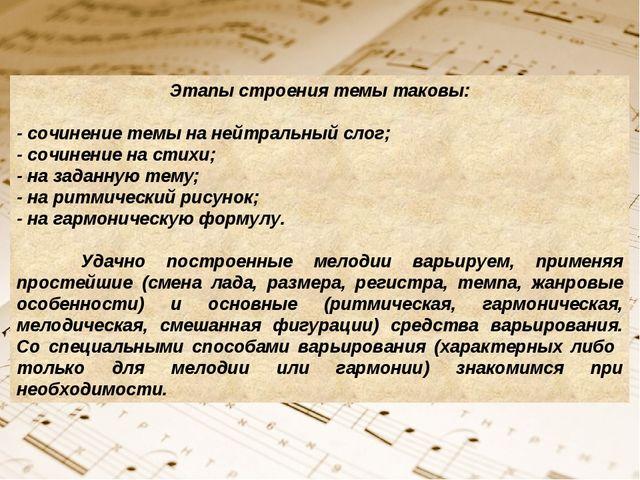 Этапы строения темы таковы: - сочинение темы на нейтральный слог; - сочинение...